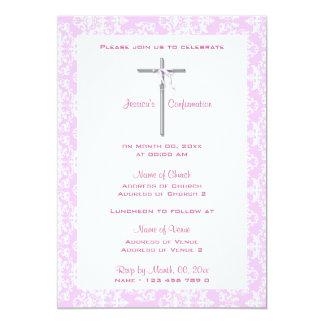 Comunión rosada de la cruz de la plata del invitaciones personalizada