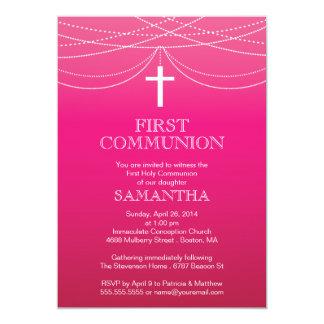 Comunión rosada moderna de la cruz de la guirnalda invitación 12,7 x 17,8 cm