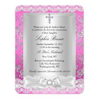 Comunión santa 2 del arco del rosa bonito de la invitación 10,8 x 13,9 cm