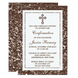 Comunión santa de la cruz del brillo de invitación 12,7 x 17,8 cm
