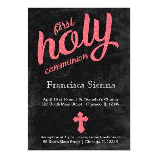 Comunión santa de la hoja rosada invitación 12,7 x 17,8 cm