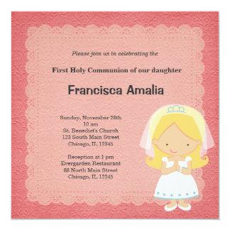 Comunión santa del damasco rosado invitación 13,3 cm x 13,3cm