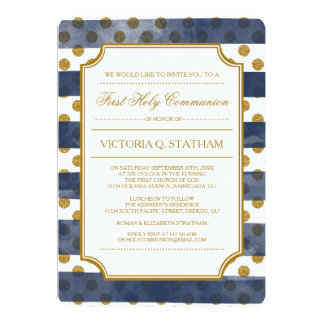 Comunión santa del encanto del brillo del oro la invitación 12,7 x 17,8 cm