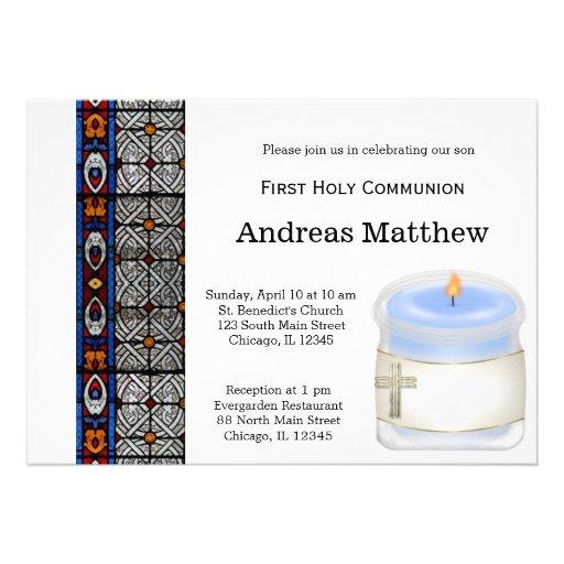 Comunión santa del vitral invitaciones personalizada