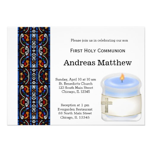 Comunión santa del vitral invitacion personalizada