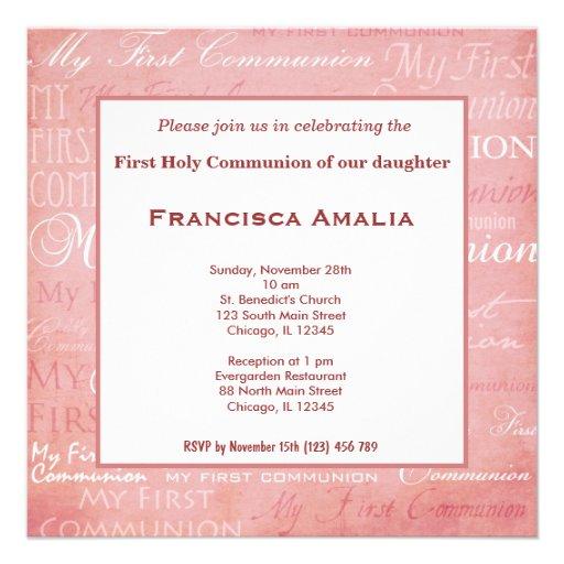 Comunión santa invitacion personalizada