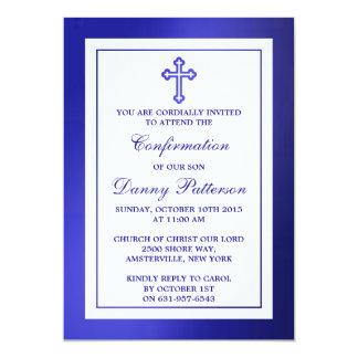 Comunión santa o confirmación cruzada azul invitación 12,7 x 17,8 cm