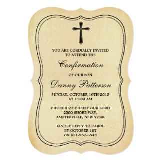 Comunión santa o confirmación cruzada del vintage invitación 12,7 x 17,8 cm