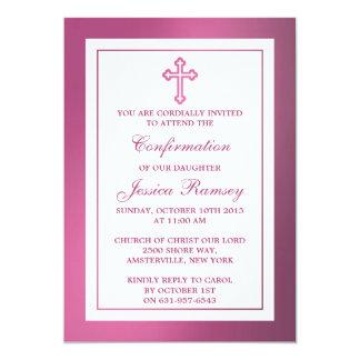 Comunión santa o confirmación cruzada rosada invitación