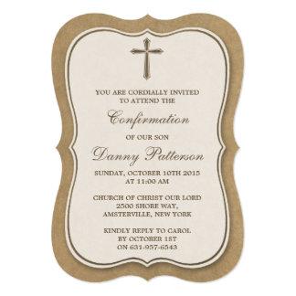 Comunión santa o confirmación cruzada rústica de invitación 12,7 x 17,8 cm
