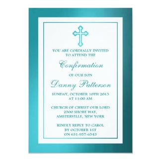 Comunión santa o confirmación de la cruz metálica invitación 12,7 x 17,8 cm