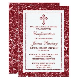Comunión santa o confirmación de la cruz roja del invitación 12,7 x 17,8 cm