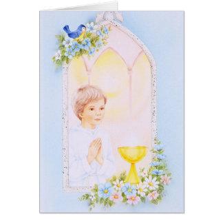 Comunión santa para los muchachos tarjeta de felicitación