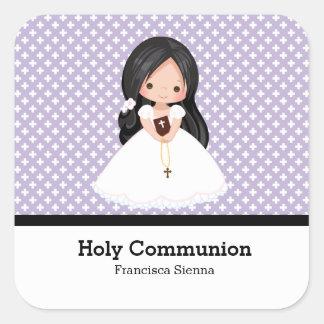 Comunión santa pegatina cuadrada