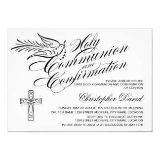 Comunión santa y confirmación de la paloma de la invitación 12,7 x 17,8 cm