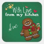 Con amor de mis pegatinas de la cocina del día de pegatina cuadrada