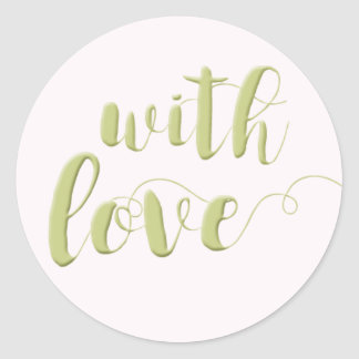Con amor, pegatina redondo de la tipografía sabia