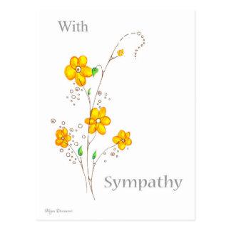 Con condolencia el amarillo florece la postal