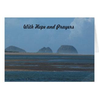 con esperanza y rezos tarjeta
