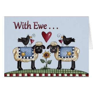 Con la oveja… tarjeta de felicitación