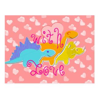 Con la postal linda de los dinosaurios del amor
