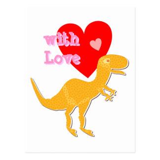 con la postal linda del dinosaurio de T-Rex del am
