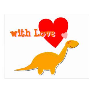 con la postal linda del Diplodocus del dinosaurio