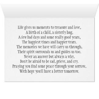 Con la tarjeta de condolencia