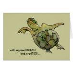 Con la tortuga de mar verde del moreno de GratiTID Tarjeta De Felicitación