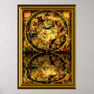 Con-marco antiguo de los mapas -1 póster