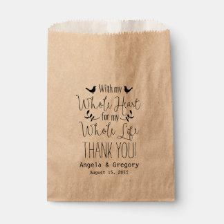 Con mi corazón entero mi favor del boda del toda bolsa de papel