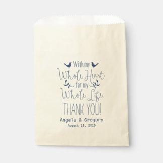 Con mi favor entero del boda de la marina de bolsa de papel