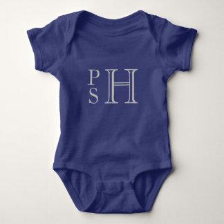 Con monograma abby azul y de plata body para bebé
