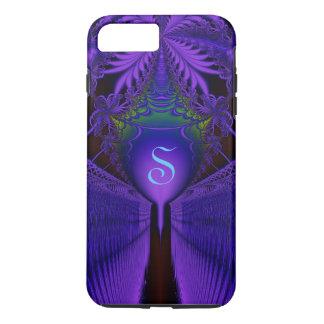 Con monograma azul y púrpura del cordón elegante funda iPhone 7 plus