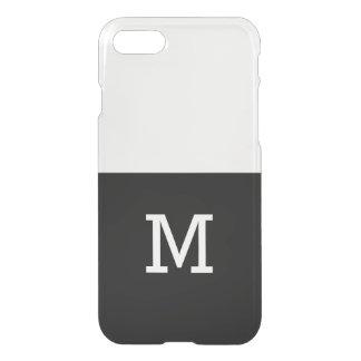 Con monograma blanco negro simple funda para iPhone 7