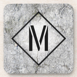 Con monograma concreto gris fotorrealista apoyavasos