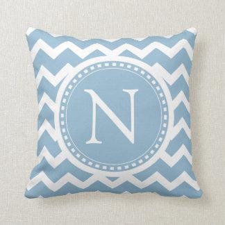 Con monograma rayado del zigzag elegante azul de cojín decorativo