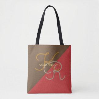 con monograma rojo marrón impresa del medio todo bolsa de tela
