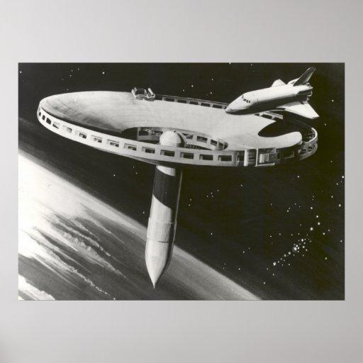 Concepto 1977 de la estación espacial de la NASA Poster