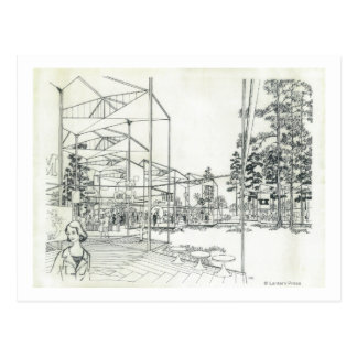 Concepto aéreo de la aguja del espacio que dibuja postal