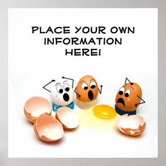 Concepto agrietado de los huevos - el poster póster