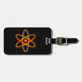 Concepto atómico etiqueta para maletas