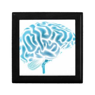 Concepto azul del cerebro que brilla intensamente caja de joyas