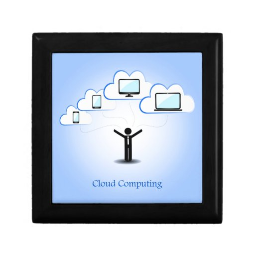 Concepto computacional de la nube cajas de joyas