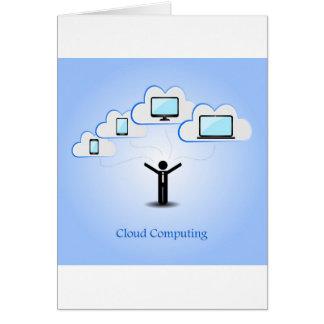 Concepto computacional de la nube tarjeta de felicitación