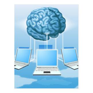 Concepto computacional del cerebro del ordenador postales