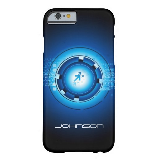 Concepto de alta tecnología abstracto azul del funda de iPhone 6 barely there