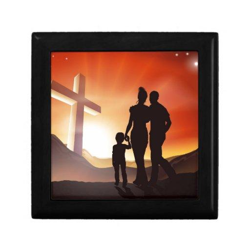 Concepto de familia cristiano cajas de regalo
