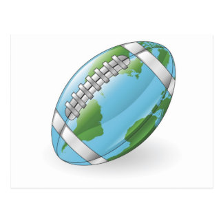 Concepto de la bola del fútbol del globo del mundo tarjeta postal