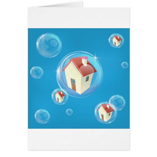 Concepto de la burbuja de vivienda felicitaciones